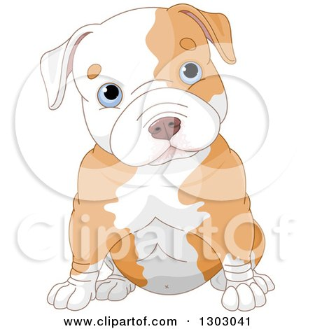 Clipart of a Cute Blue Eyed White Ad Tan Pitbull Puppy Dog Sitting and Cocking His Head - Royalty Free Vector Illustration by Pushkin