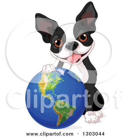 Clipart of a Cute Boston Terrier or French Bulldog Resting a Paw on Planet Earth - Royalty Free Vector Illustration by Pushkin