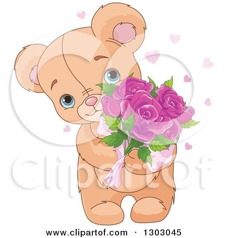 Clipart of a Cute and Sweet Teddy Bear Holding Mothers Day Rose Flowers - Royalty Free Vector Illustration by Pushkin