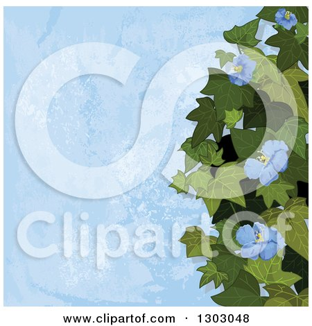 Clipart of a Background of Ivy and Flowers over Blue Texture - Royalty Free Vector Illustration by Pushkin