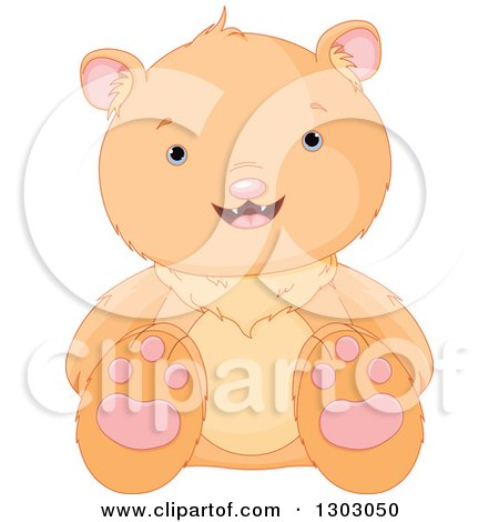Clipart of a Cute Sitting Bear Cub - Royalty Free Vector Illustration by Pushkin
