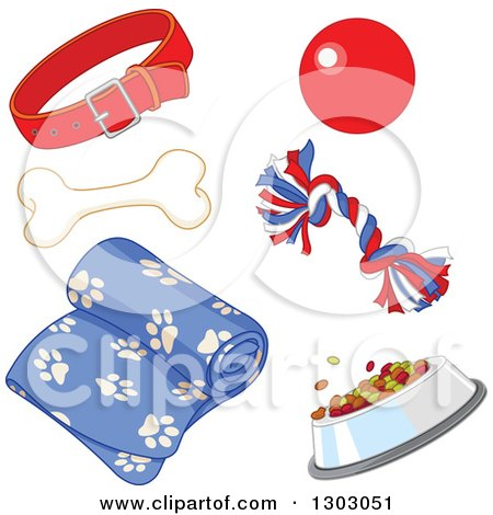 Clipart of a Dog Collar, Toys, Bone, Dish and Blanket - Royalty Free Vector Illustration by Pushkin