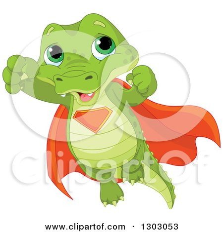 Clipart of a Cute Baby Alligator Super Hero Flying - Royalty Free Vector Illustration by Pushkin