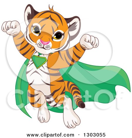 Clipart of a Cute Baby Tiger Cub Super Hero Flying - Royalty Free Vector Illustration by Pushkin