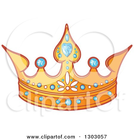 Clipart of a Gold Tiara with Diamonds - Royalty Free Vector Illustration by Pushkin