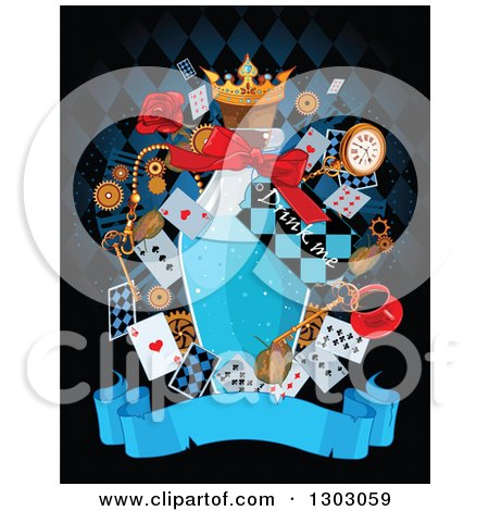 Clipart of a Bottle of Potion with a Drink Me Tab with Alice and Wonderland Cards and Items over a Blank Banner on Black - Royalty Free Vector Illustration by Pushkin