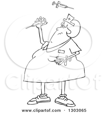Lineart Clipart of a Black and White Cartoon Chubby Female Nurse Juggling Vaccine Syringes - Royalty Free Outline Vector Illustration by djart