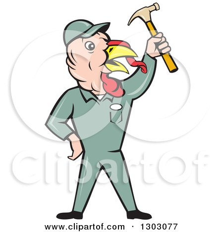 Clipart of a Cartoon Turkey Bird Builder Worker Holding up a Hammer - Royalty Free Vector Illustration by patrimonio