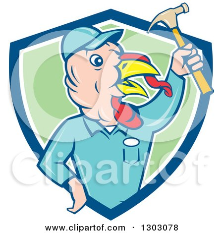 Clipart of a Retro Cartoon Turkey Bird Builder Worker Holding up a Hammer in a Blue White and Green Shield - Royalty Free Vector Illustration by patrimonio