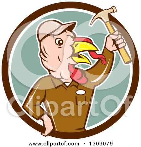 Clipart of a Retro Cartoon Turkey Bird Builder Worker Holding up a Hammer in a Brown White and Green Circle - Royalty Free Vector Illustration by patrimonio