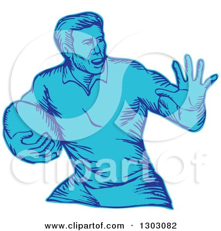 Clipart of a Blue Engraved or Sketched Male Rugby Player Fending - Royalty Free Vector Illustration by patrimonio