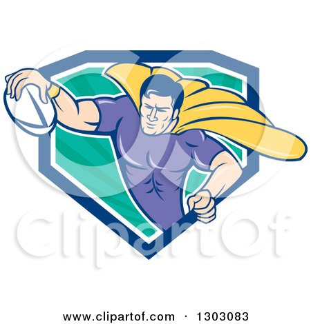 Clipart of a Retro Cartoon Super Hero Flying with a Rugby Ball and Emerging from a Blue White and Turquoise Ray Shield - Royalty Free Vector Illustration by patrimonio