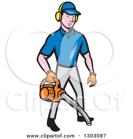 Clipart of a Cartoon White Male Gardener Using a Leaf Blower - Royalty Free Vector Illustration by patrimonio