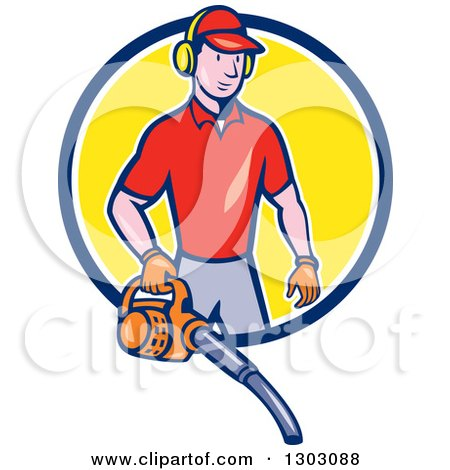 Clipart of a Cartoon White Male Gardner Using a Leaf Blower and Emerging from a Blue White and Yellow Circle - Royalty Free Vector Illustration by patrimonio