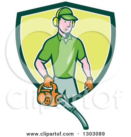 Clipart of a Cartoon White Male Gardner Using a Leaf Blower and Emerging from a Green and White Shield - Royalty Free Vector Illustration by patrimonio
