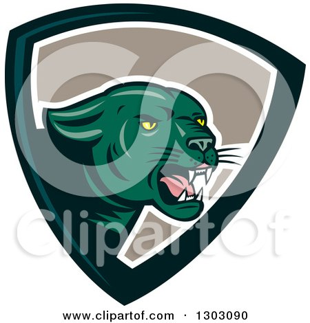 Clipart of a Growling Green Black Panther Cat in a Shield - Royalty Free Vector Illustration by patrimonio
