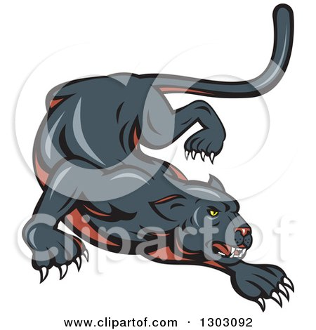 Clipart of a Stalking and Crouching Black Panther Cat - Royalty Free Vector Illustration by patrimonio
