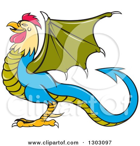 Clipart of a Cartoon Basilisk Fantasy Creature in Profile, Facing Left - Royalty Free Vector Illustration by patrimonio