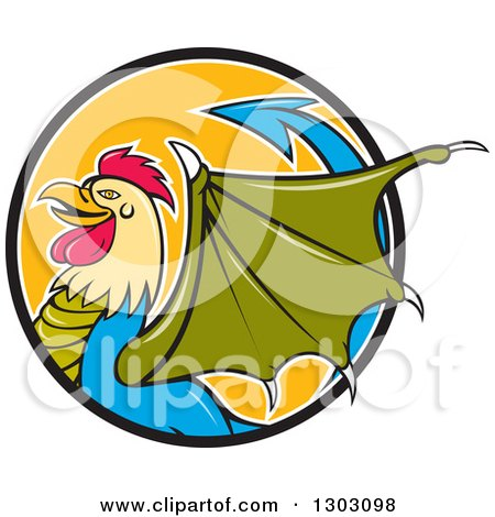Clipart of a Cartoon Basilisk Fantasy Creature in Profile, Emerging from a Black White and Orange Circle - Royalty Free Vector Illustration by patrimonio