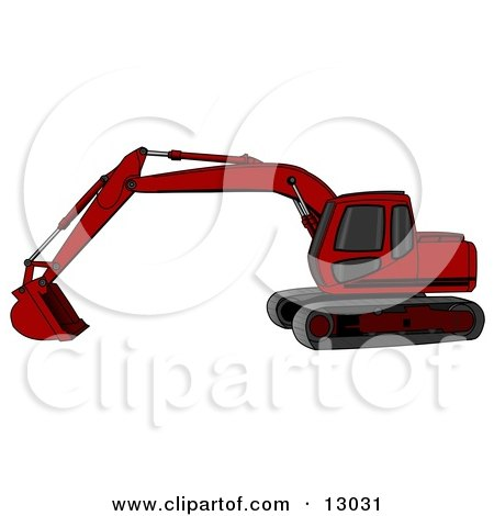 Red Trackhoe Excavator Posters, Art Prints