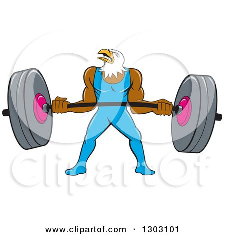 Clipart of a Cartoon Muscular Bald Eagle Bodybuilder Man Lifting a Heavy Barbell - Royalty Free Vector Illustration by patrimonio