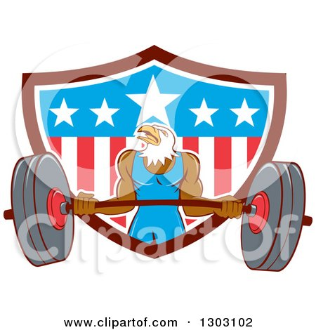 Clipart of a Cartoon Muscular Bald Eagle Bodybuilder Man Lifting and Emerging from an American Shield - Royalty Free Vector Illustration by patrimonio