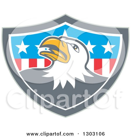 Clipart of a Retro Cartoon Tough Bald Eagle in a Gray White and American Flag Shield - Royalty Free Vector Illustration by patrimonio