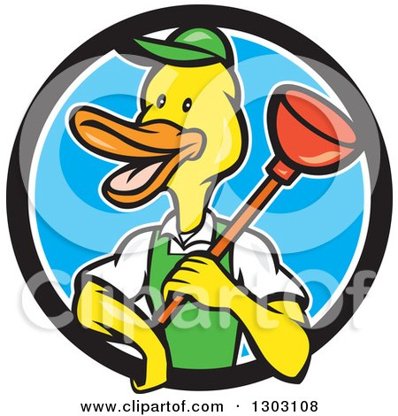 Clipart of a Cartoon Duck Plumber Worker Man Holding a Plunger in a Black White and Blue Circle - Royalty Free Vector Illustration by patrimonio