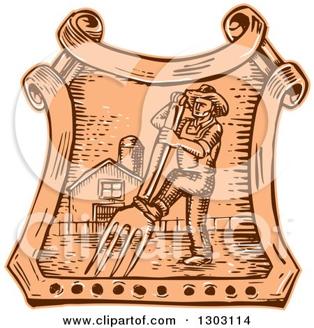 Clipart of a Sketched or Engraved Male Farmer Using a Giant Fork in a Crest with a Barn - Royalty Free Vector Illustration by patrimonio