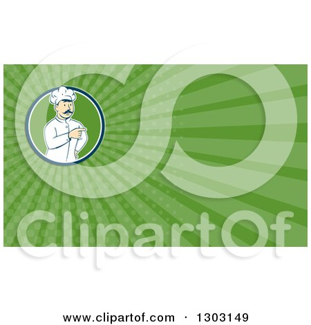 Clipart of a Retro Cartoon White Male Head Chef with a Mustache, Pointing and Green Rays Background or Business Card Design - Royalty Free Illustration by patrimonio