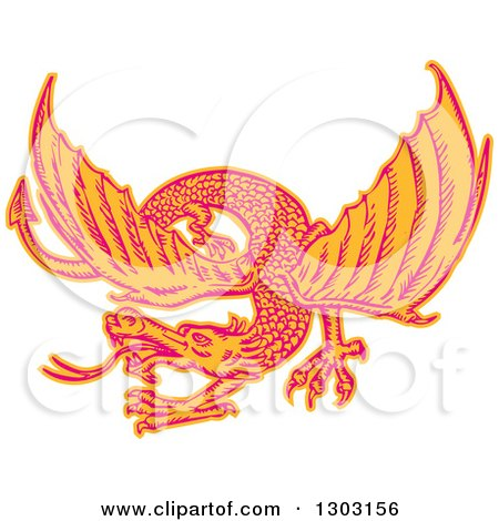 Clipart of a Sketched or Engraved Flying Dragon - Royalty Free Vector Illustration by patrimonio