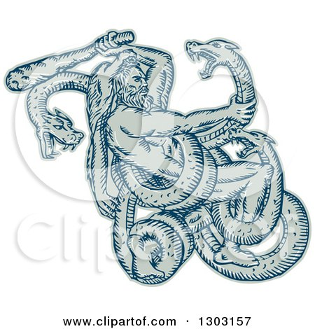 Clipart of a Sketched or Engraved Hercules Wearing a Lion Skin and Fighting a Three Headed Serpent - Royalty Free Vector Illustration by patrimonio