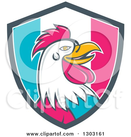 Clipart of a Retro Cartoon Rooster Head in a French Flag Circle - Royalty Free Vector Illustration by patrimonio
