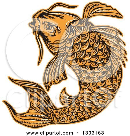 Clipart of a Sketched or Engraved Jumping Koi Fish - Royalty Free Vector Illustration by patrimonio