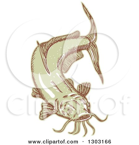 Clipart of a Sketched or Engraved Catfish - Royalty Free Vector Illustration by patrimonio