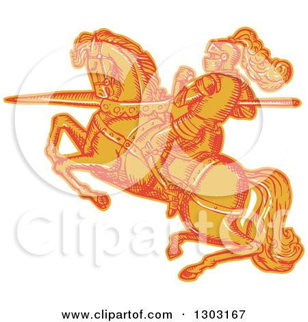 Clipart of a Sketched or Engraved Horseback Knight with a Lance - Royalty Free Vector Illustration by patrimonio