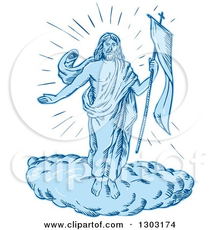 Clipart of a Sketched or Engraved Resurrection of Jesus - Royalty Free Vector Illustration by patrimonio