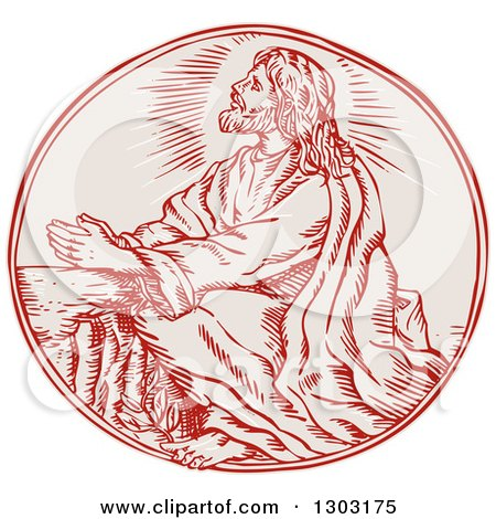 Clipart of a Sketched or Engraved Scene of Jesus Agony in the Garden - Royalty Free Vector Illustration by patrimonio