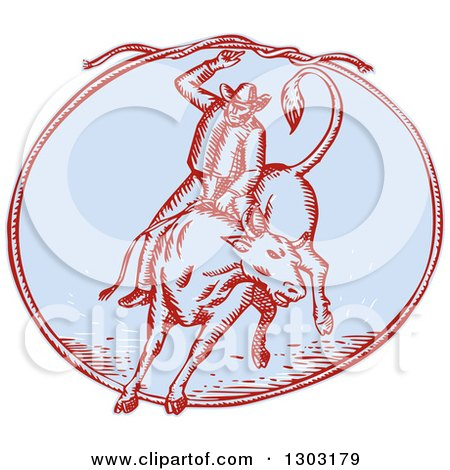 Clipart of a Sketched or Engraved Rodeo Cowboy Swinging a Lasso on a Bull in an Oval - Royalty Free Vector Illustration by patrimonio
