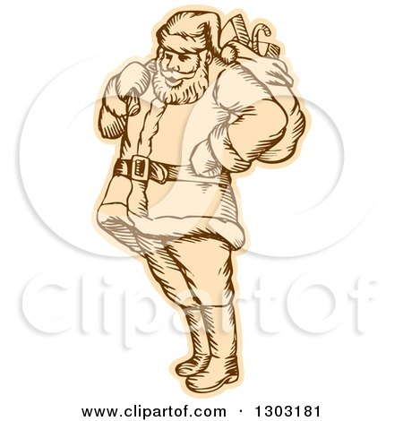 Clipart of a Sketched or Engraved Santa Standing with a Christmas Sack over His Shoulder - Royalty Free Vector Illustration by patrimonio