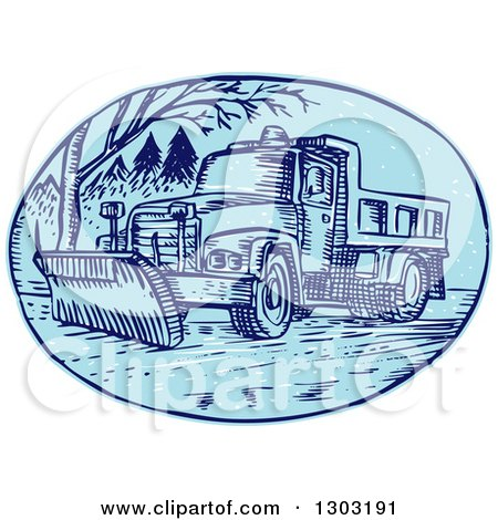 Clipart of a Sketched or Engraved Snow Plow Truck on a Street ...