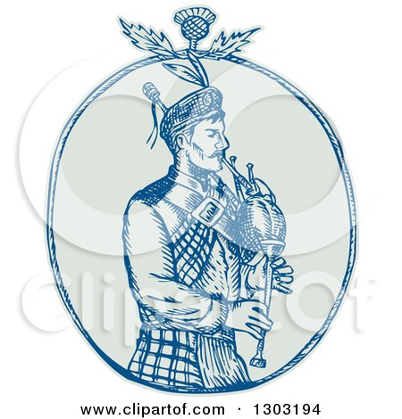 Clipart of a Sketched or Engraved Scotsman Bagpiper with a Thistle in an Oval - Royalty Free Vector Illustration by patrimonio