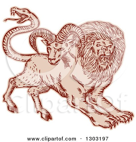 Clipart of a Sketched or Engraved Chimera Beast Pouncing - Royalty Free Vector Illustration by patrimonio