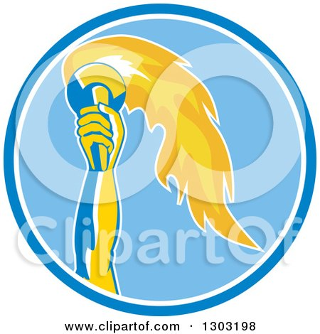 Clipart of a Retro Hand Holding up a Torch in a Blue and White Circle - Royalty Free Vector Illustration by patrimonio