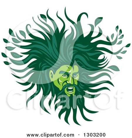 Clipart of a Green Man with a Leafy Mane - Royalty Free Vector Illustration by patrimonio