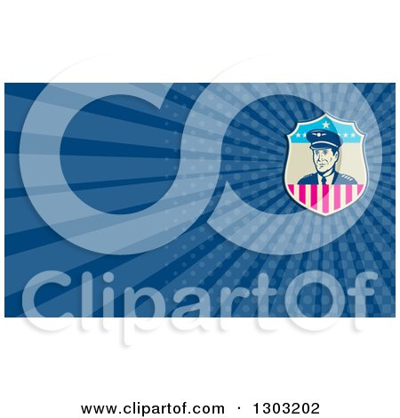 Clipart of a Retro Male American Commercial Aircraft Pilot and Blue Rays Background or Business Card Design - Royalty Free Illustration by patrimonio