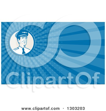 Clipart of a Retro Male Commercial Aircraft Pilot and Blue Rays Background or Business Card Design 2 - Royalty Free Illustration by patrimonio