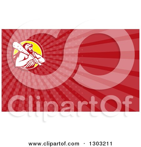 Clipart of a Retro Hercules Wearing a Lion Skin and Holding a Club and Red Rays Background or Business Card Design - Royalty Free Illustration by patrimonio