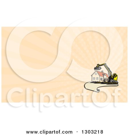 Clipart of a Retro Cartoon Excavator and House on a Blueprint Page and Pastel Orange Rays Background or Business Card Design - Royalty Free Illustration by patrimonio