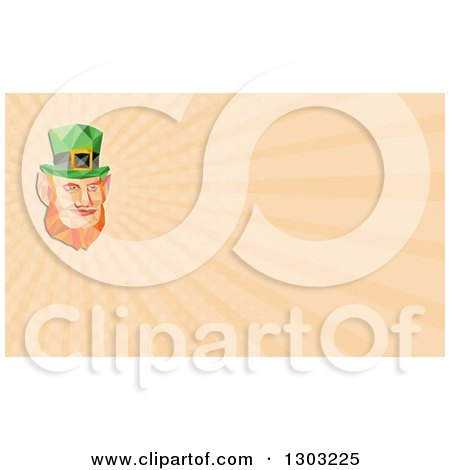 Clipart of a Retro Low Poly St Patricks Day Leprechaun Face and Pastel Orange Rays Background or Business Card Design - Royalty Free Illustration by patrimonio